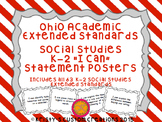 Ohio Academic Extended Standards Social Studies K-2 I Can Statement Posters