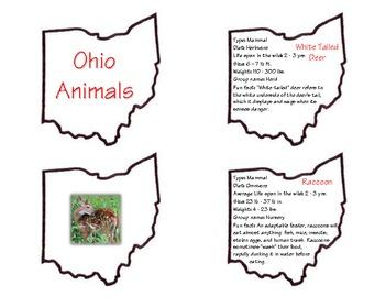 Ohio Animals - Matching Fact Cards