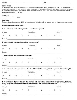 Ohio Child Outcomes Summary Parent Input Form