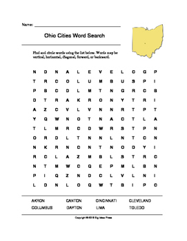 Ohio Cities Word Search (Grades 3-5)