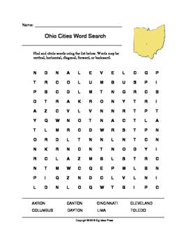 Ohio Cities Word Search (Grades 3-5)