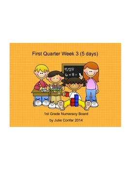 Ohio Common Core 1st Grade Numeracy Board First Quarter, Third Week