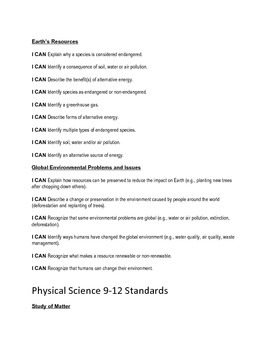Ohio Common Core Standards- Extended for Science - I Can statements