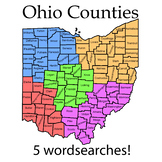 Ohio Counties-Name history and word searches! 5 wordsearches!