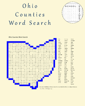 Ohio Counties Word Search