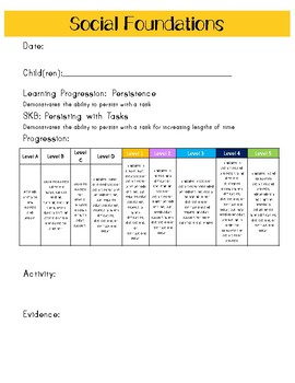 Ohio Early Learning Assessment (ELA) Data Recording Sheets - 32 Progressions