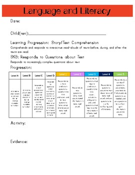 Ohio Early Learning Assessment (ELA) Data Recording Sheets Language and Literacy