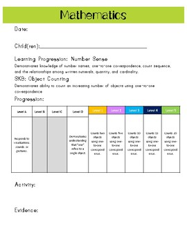 Ohio Early Learning Assessment (ELA) Data Recording Sheets - Mathematics