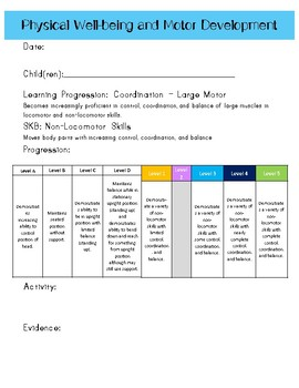 Ohio Early Learning Assessment (ELA) Data Recording Sheets - Physical and Motor