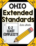 Ohio Extended Content Standards Data Sheets K-2 LEAST Complexity