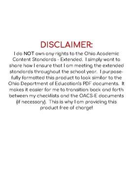 Ohio Extended Standards Grades 9-12 ELA Checklist