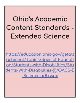 Ohio Extended Standards Grades 9-12 Science Checklist