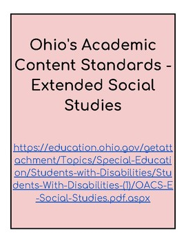 Ohio Extended Standards Grades 9-12 Social Studies Checklist
