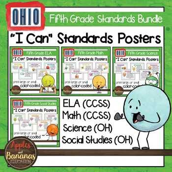 """Ohio Fifth Grade Standards - All Subjects """"I Can"""" Posters & Statement Cards"""