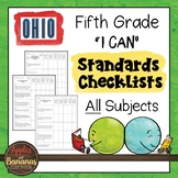 """Ohio - Fifth Grade Standards Checklists for All Subjects  - """"I Can"""""""
