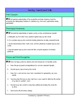 First Grade Ohio ELA Standards Checklist