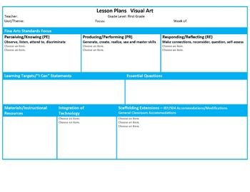 Ohio First Grade Fine Arts Music and Visual Art Lesson Plan Templates