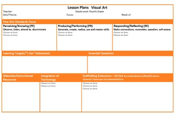 Art Lesson Plan Template | Teachers Pay Teachers
