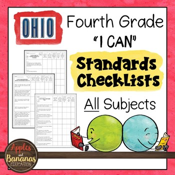 """Ohio - Fourth Grade Standards Checklists for All Subjects  - """"I Can"""""""