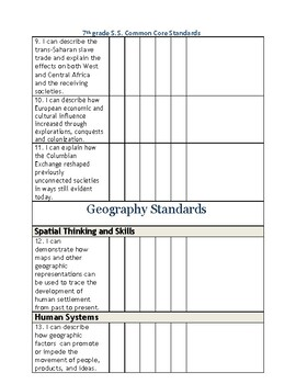 Ohio Grade 7 Social Studies I can Checklist