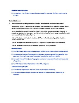Ohio Grade 8 Life Science Content Standards and I can Statements