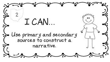 "Ohio History 4th Grade ""I Can"" Statements"