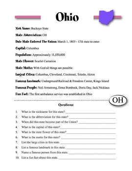 Ohio Information & Worksheet