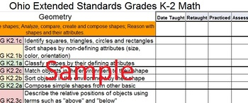 Ohio K-2 Math Extended Standard Checklist