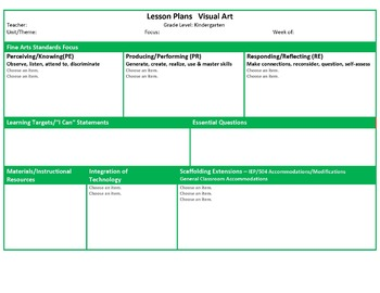 Ohio Kindergarten Fine Arts Music And Visual Art Lesson Plan Templates - Art lesson plan template
