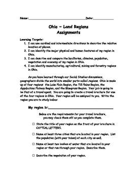 Ohio Land Regions Assignment