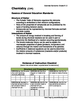 Ohio Learning Standards - Extended Science Grades 9-12