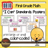 """Ohio Learning Standards for First Grade MATH """"I Can"""" Posters"""