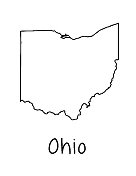 Ohio Map Coloring Page Craft - Lots of Room for Note-Takin