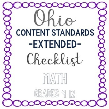 Ohio Math Extended Standards Checklist Grades 9-12