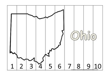 Ohio Number Sequence Puzzle.  Learn the States preschool printable game.