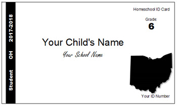Ohio (OH) Homeschool ID Cards for Teachers and Students