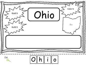 Ohio Read it, Build it, Color it Learn the States preschool worksheet.