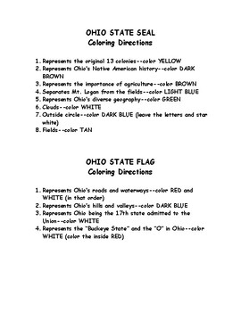 Ohio Seal and Flag Coloring Directions