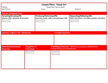 Ohio Second Grade Fine Arts Music and Visual Art Lesson Plan Templates