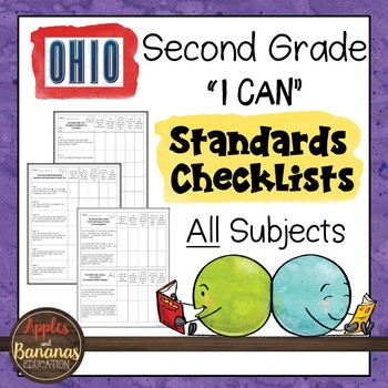 """Ohio - Second Grade Standards Checklists for All Subjects  - """"I Can"""""""