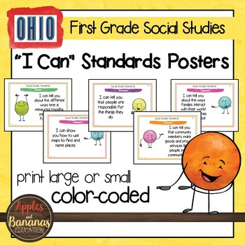 Ohio Social Studies - First Grade Standards Posters and Statement Cards