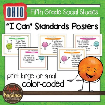 Ohio Social Studies I Can Standards - Fifth Grade Posters and Statement Cards