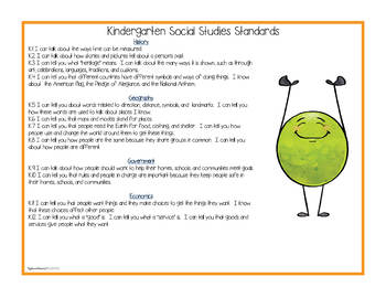 Ohio Social Studies - Kindergarten Standards Posters and Statement Cards