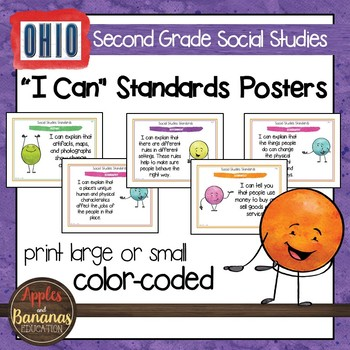 Ohio Social Studies Standards - Second Grade Posters and Statement Cards