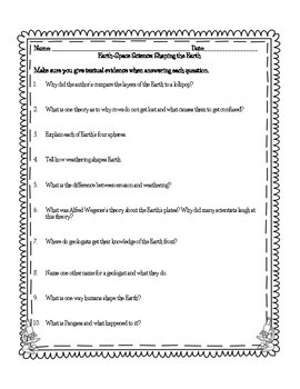 Ohio Science Studies Weekly Earth-Space Science Questions Grade 4