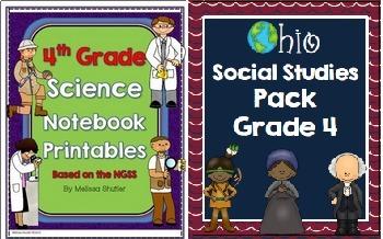 Ohio Social Studies and Science Pack Bundle Grade 4