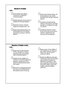 Ohio Science Standards Checklists