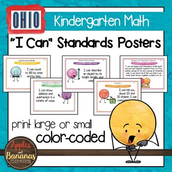 "Ohio Standards for Kindergarten MATH ""I Can"" Posters and Statement Cards"