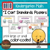 """Ohio Standards for Kindergarten MATH """"I Can"""" Posters"""