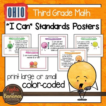 "Ohio Standards for Third Grade MATH ""I Can"" Posters and Statement Cards"